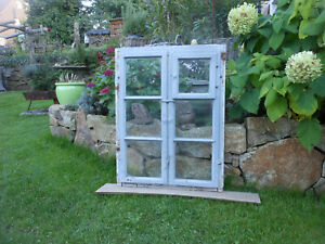 selten altes Fenster Rahmen Holz Sprossen Deko Shabby