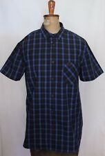 MOOKS ~ Navy Blue Royal Blue Check Cotton Short Sleeve Button Front Shirt NWT S