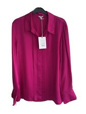 Jigsaw Silk Satin Pink Tux Shirt Size 14 BNWT RRP £120