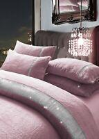 Soft Teddy Fleece Diamante Lace Duvet Cover Set