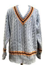 NEW & LINGWOOD MEN'S BLUE CASHMERE V-NECK SWEATER, XXL, $495