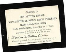OBSEQUES A DREUX DE HENRI D'ORLEANS (EXPLORATEUR MORT A SAIGON)
