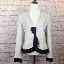Elevenses Anthropologie Jacket Blazer Women 12 Wool Button Gray Black