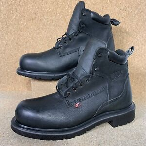 Red Wing Steel Toe Black Leather Work Men's Boots Made in USA 2213 Size 14 NEW