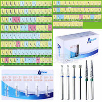 5Pcs 150 Types AZDENT Dental Diamond Grit Burs FG fit for High Speed Handpiece