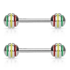 2 lot RASTA Jamaican Stripe Tongue Nipple RINGS Studs BARBELLS Piercing Jewelry