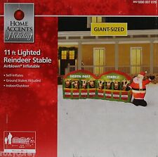 Christmas 11 ft Lighted Santa Stable with 8 Reindeer Airblown Inflatable NIB