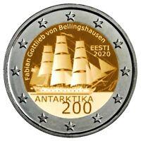 """2020 * 2 Euro ESTONIA """"200º Anniversario della Scoperta dell'Antartide"""" UNC"""