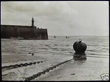 Glass Magic Lantern Slide ST IVES HARBOUR & LIGHTHOUSE C1890 PHOTO CORNWALL