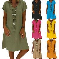 Damen Katze Muster Minikleid Freizeit Sommerkleid Baggy Tunika Longshirt Longtop