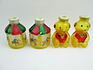 4 Glass Christmas Tree Light Covers Hand Painted Carousels and Beagles (Bears?)