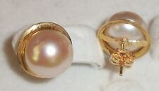 2.5g Pink Pearl Earring 14K Yellow Gold Hawaiian Hawaii Jewelry