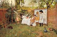 Dream-art Oil painting William Merritt Chase - The Open Air Breakfast with girls