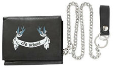 old school swallows real leather wallet  Geldbörse echt Leder mit Kette