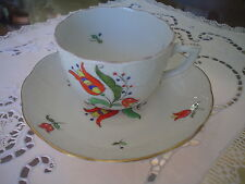 RARE Antique Kalocsa Basket Textured Coffee cup & Saucers 1941 Herend bone china