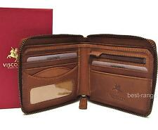 Wallet Real Leather Zip Around Visconti New in Gift Box Oak Brown Model DR31