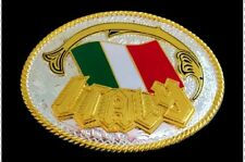 Pewter Western Belt Buckle Italian National Flag Italy Buckles