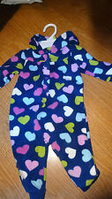 Carters Baby Girl Size 6 MONTHS Fleece Outfit  OnePiece HEARTS Blue NWT Pram