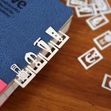 20 pcs/Box niedlich Mini Lesezeichen, Metall, lang/abgerundet GravurPro mit H0W4
