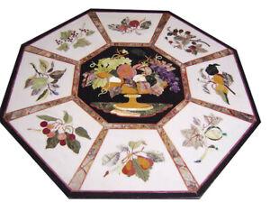 "48"" x 48"" marble dining Table Top semi precious stone inlay art work"