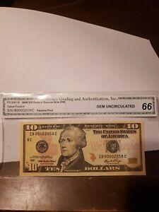 $10 2006 FR-2041-B GEM UNCIRCULATED 66  S/N IB00002058C
