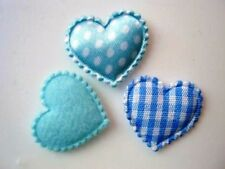 60 Mix Fabric Hearts Applique/Felt/Polka Dot Satin/Gingham/Baby/Trim H78-Blue