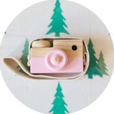 Kids Cute Wood Camera Toy Children Room Decor Natural Safe Wooden Camera Pink Bü
