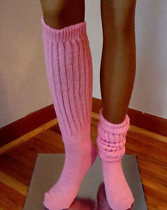2 Pink Slouch Socks Knee Scrunch Hooters Uniform school halloween costume nurse