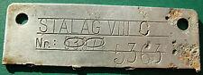 WWII Nazi POW Camp Stalag VIII C id tag of soldier P.O.W. - Al - Lamsdorf