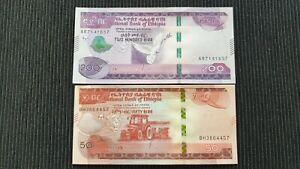 ETHIOPIA 200 & 50 Birr 2020 P New x 2 UNC Banknote Set