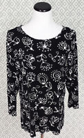 Womens Style Rite Black White Floral 3/4 Sleeve Top Blouse Dress Shirt Large L