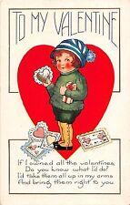 B20/ Valentine's Day Love Holiday Postcard 1923 Kansas Girl Heart Gifts 7