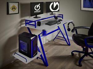 Virtuoso White Carbon Effect Gaming Computer Desk Table Blue Headphones Holder