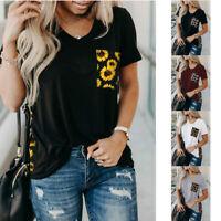 Women Crew Neck Short Sleeve Casual T Shirt Leopard Pocket Loose Tops Blouse