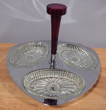 Vintage Glo-Hill 3 Section Chrome & Glass Tray Relish Dish Bakelite Handle