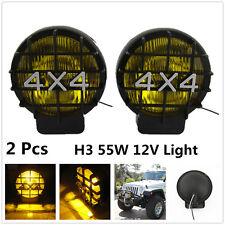 2 Pcs 55W Yellow Halogen Driving Fog Lights Spot Lamp For Jeep Off Road Truck