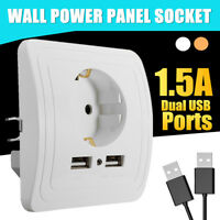 Electric Dual USB Port Wall Charger Adapter Socket Power Outlet Panel EU