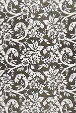 Printed Translucent / Vellum Scrapbook Paper A/4 Flowers Black