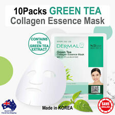 10x DERMAL Green Tea Collagen Essence Facial Face Mask Sheet Skin Pack Korea