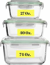 Extra Large Glass Food Storage Containers w/Airtight Lid 6 Pc [3 containers] $44