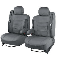 Gray PU Leather Seat Covers Luxury Leatherette - Armrest & Integrated Seatbelt