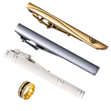 USA 4pcs Mens Tie Clip Stainless Steel Necktie Bar Clasp Clamp Pin Tie Ring Gold