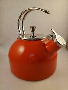 KATE SPADE NEW YORK TEA KETTLE PotOrange enamel stainless steel Lenox Metal