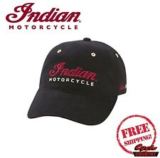 GENUINE INDIAN MOTORCYCLE LOGO HAT BLACK W/ HOOK AND LOOP CLOSURE SCOUT CHIEF