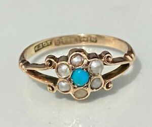 Antique 9CT Solid gold W/ Turquoise & Pearl ring C1915/ 2.0g size P -  7 1/2