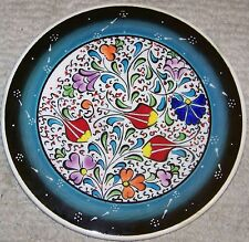 "Dark & light green Turkish Handmade 6"" Iznik Floral Pattern Ceramic Wall Plate"