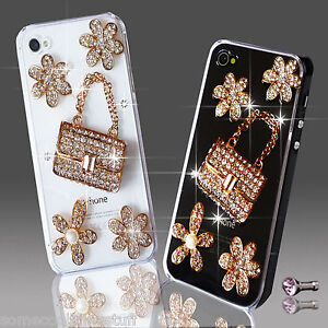 NEW 3D DELUX COOL BLING HANDBAG FLOWER DIAMANTE CASE FOR VARIOUS MOBILE PHONES