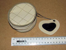 VINTAGE CREAM CIRCULAR ZIPPED PURSE WITH ATTACHED HEART MIRROR ON CHAIN