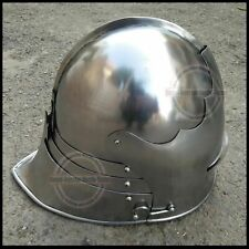 Medieval Crusader Knight Greek Spartan Templar Armor Helmet With Wooden Stand