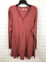 Logo by Lori Goldstein Womens V Neck Long Sleeve Tunic Top Size 3X NWOT